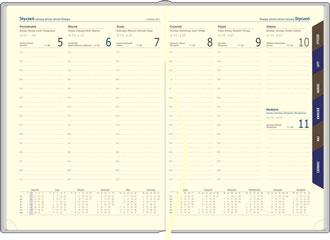 Kalendarze książkowe tygodniowe chamois z niebieskiem zadrukiem
